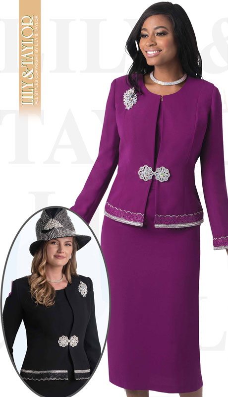 Lily And Taylor 4272-MA-IH ( 3pc PeachSkin Ladies Church Suit With Jacket, Beaded Trim, Jeweled Clasp And Brooch )