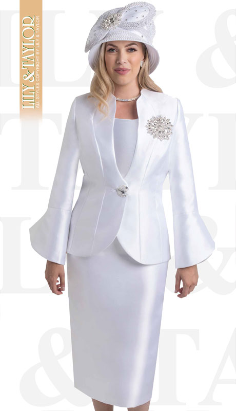 Lily And Taylor 4140-WH ( 3pc Ladies Silk Church Suit With Bell Sleeved Jacket And Exclusive Rhinestone Brooch )