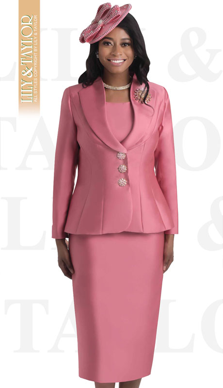 Lily And Taylor 4417-DA ( 3pc Silk Church Suit With Jeweled Buttons And Brooch )