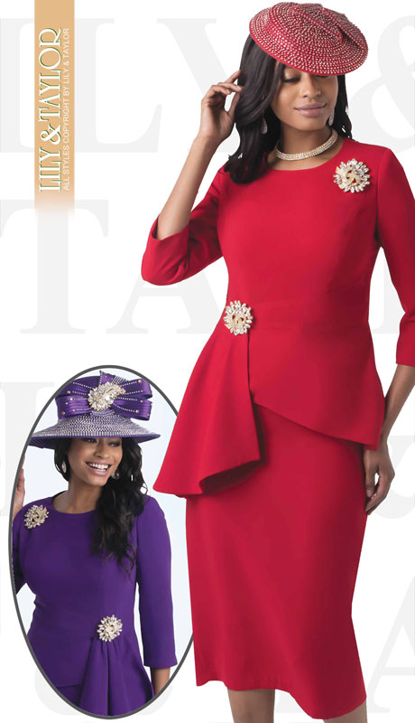 Lily & Taylor 4405-RE ( 2pc Ladies Crepe Skirt Suit With Draped Jacket And Large Jeweled Brooches )