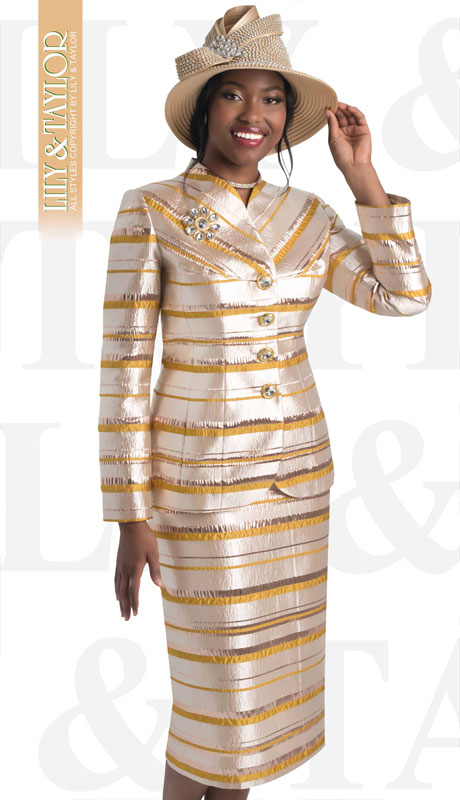 Lily And Taylor 4458-GO ( 2pc Novelty Striped Metallic Church Suit With Gem Buttons And Brooch )
