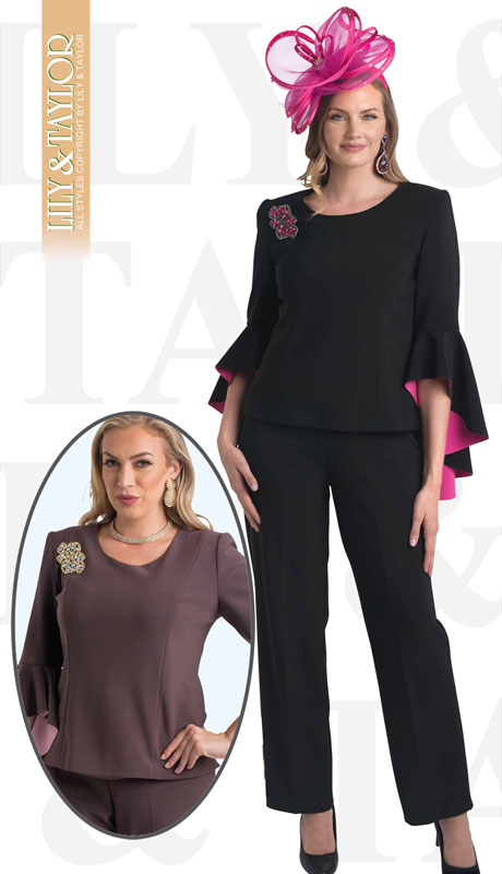 Lily And Taylor 4381-BL ( 2pc Ladies Knit Pant Suit With Colored Interior Bell Sleeves )