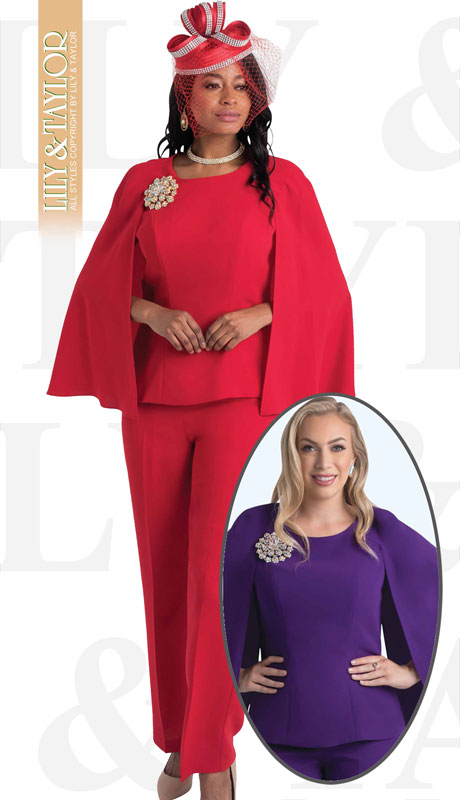 Lily And Taylor 4429-RE-IH ( 2pc Pantsuit With Cape Sleeves And Jeweled Brooch )