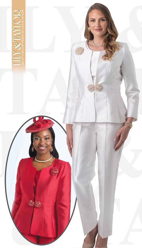 Lily And Taylor 4387-IV-IH ( 3pc Silk Pant Suit With Pearl Clasp And Brooch )
