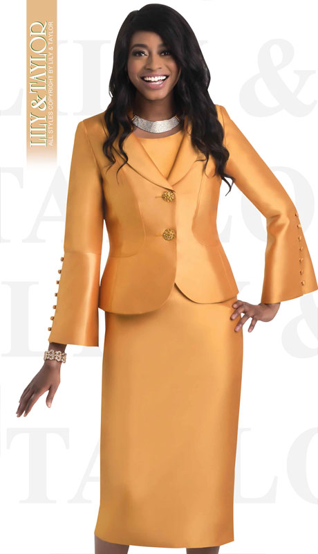 Lily And Taylor 4452-HO ( 3pc Silk Ladies Church Suit With Buttoned Sleeves )