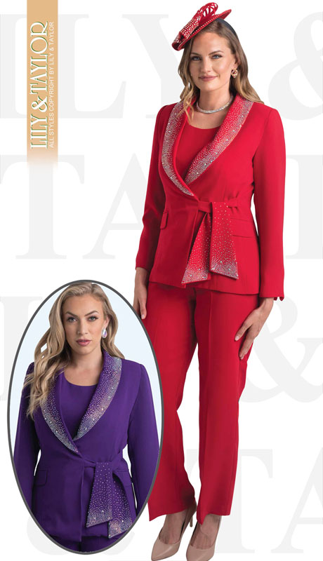 Lily And Taylor 4373-RE ( 3pc Ladies PeachSkin Pant Suit With Rhinestone Collar And Trim )