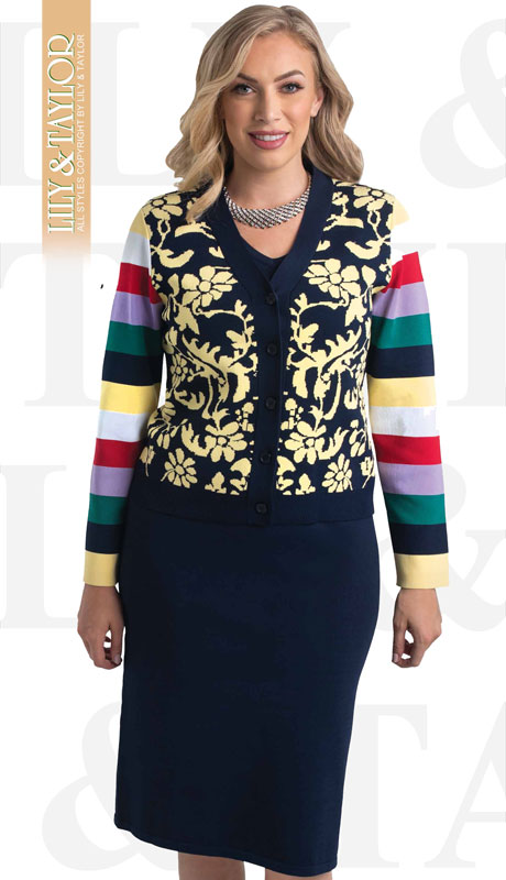 Lily And Taylor 656-NM ( 3pc Knit Womans Church Suit With Mixed Pattern And Stripes )