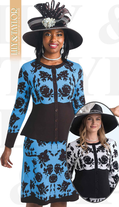 Lily And Taylor 657-TB ( 3pc Knit Patterned Womans Church Suit With Peplum Top )