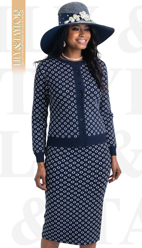 Lily And Taylor 658-NI ( 3pc Knit Circular Patterned Womans Church Suit )