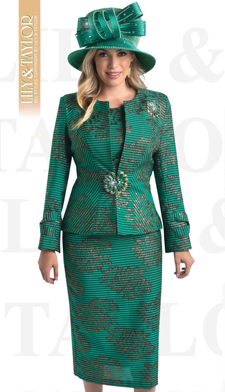 Lily And Taylor 4400-EM-IH ( 3pc Novelty Striped First Ladies Suit With Clasp and Floral Brooch )