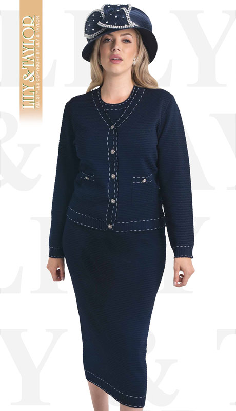 Lily And Taylor 635-NA ( 3pc Knit Ladies Church Suit With Contrast Hem Stitching )