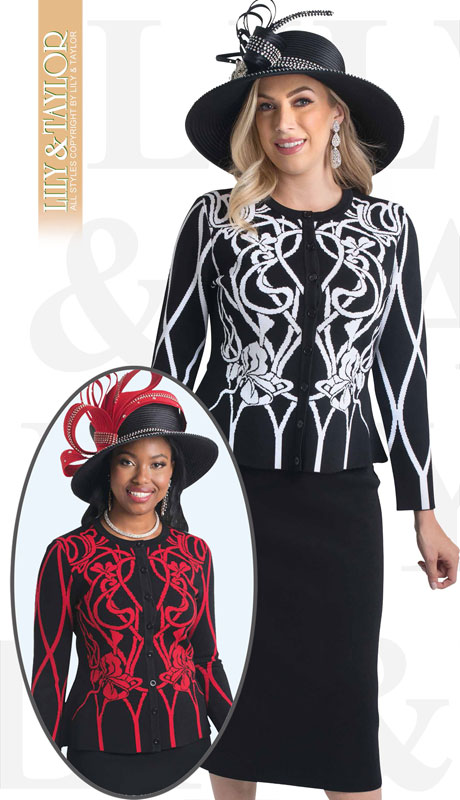 Lily And Taylor 660-BI-IH ( 3pc Knit Womans Church Suit With Patterned Jacket )