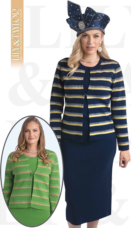 Lily And Taylor 648-NM ( 3pc Knit Ladies Church Suit With Striped Jacket )