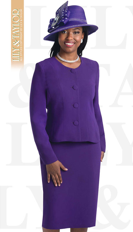 Lily And Taylor 2920-PU ( 2pc PeachSkin Ladies Church Suit )