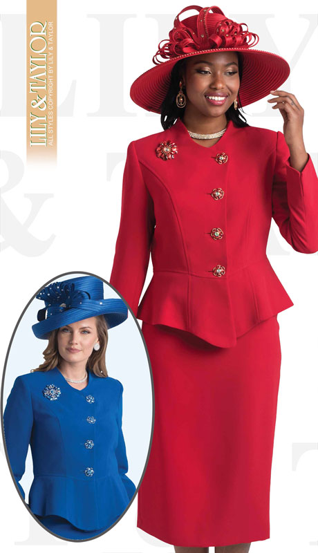 Lily And Taylor 4046-RE-IH ( 2pc Ladies Church Suit With Rhinestone Buttons )