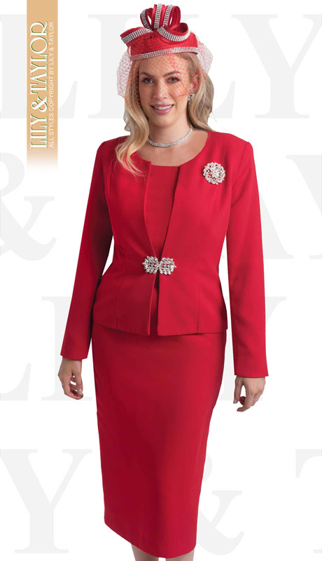 Lily & Taylor 3052-RE-IH ( 3pc Ladies Church Suit With Rhinestone Clasp And Brooch )