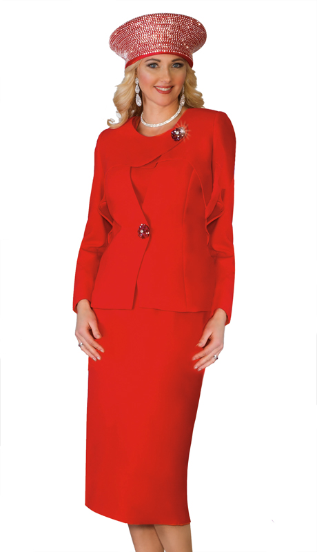 Lily And Taylor 4024-RE ( 3pc PeachSkin First Lady Church Suit With Brooch )