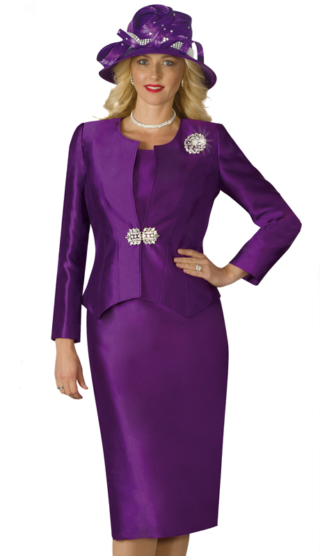 Lily And Taylor 3632-PU-IH ( 3pc Silk Church Suit With Brooch )