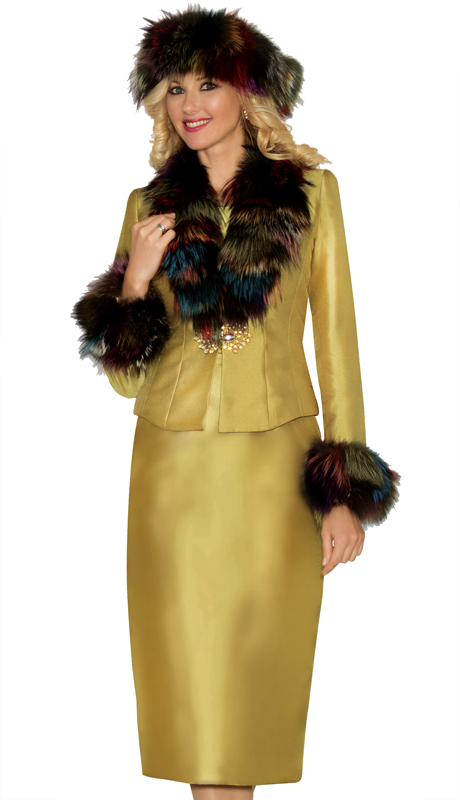 Lily And Taylor 3811-KI ( 3pc Silk First Lady Suit With Genuine Fur Collar And Cuffs )