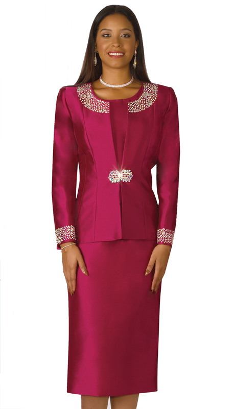 Lily And Taylor 3800-WI-IH ( 3pc Silk Ladies Sunday Suit With Rhinestone Embellished Trims )