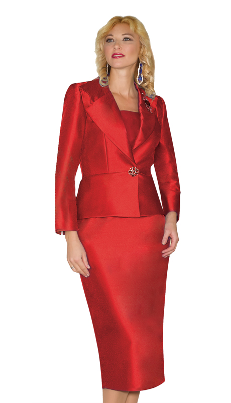 Lily And Taylor 3809-RE ( 2pc Silk First Lady Suit With Brooch )