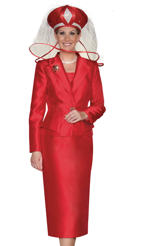 Lily And Taylor 3803-RE ( 3pc Silk Church Suit With Brooch )