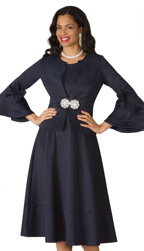 Lily And Taylor 4202-NA ( 2pc Scuba Knit First Lady Dress With Elegant Clasp And Bows On Bell Sleeves )