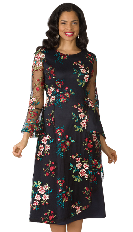 Lily And Taylor 4200-BM ( 1pc Embroidered Floral Lace Ladies Church Dress With Sheer Sleeves )