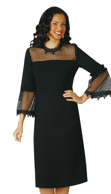 Lily And Taylor 4196-BK ( 1pc PeachSkin Ladies Church Dress With Fancy Lace Collar And Sleeves )