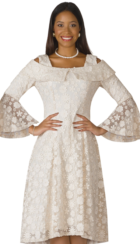 Lily And Taylor 4203-IV ( 1pc Lace With Organza Sunday Dress With Portrait Collar, Flare Sleeves, And Wintry Patterning )