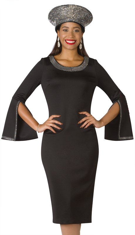 Lily And Taylor 4153-BK ( 1pc Knit First Lady Dress With With Split Bell Cuff And Rhinestone Details )
