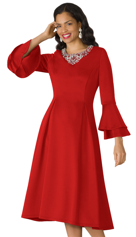 Lily And Taylor 4197 ( 1pc Scuba Knit Ladies Church Dress With Layered Flare Sleeves And Stunning Jewel And Stone Arrangement At Collar )