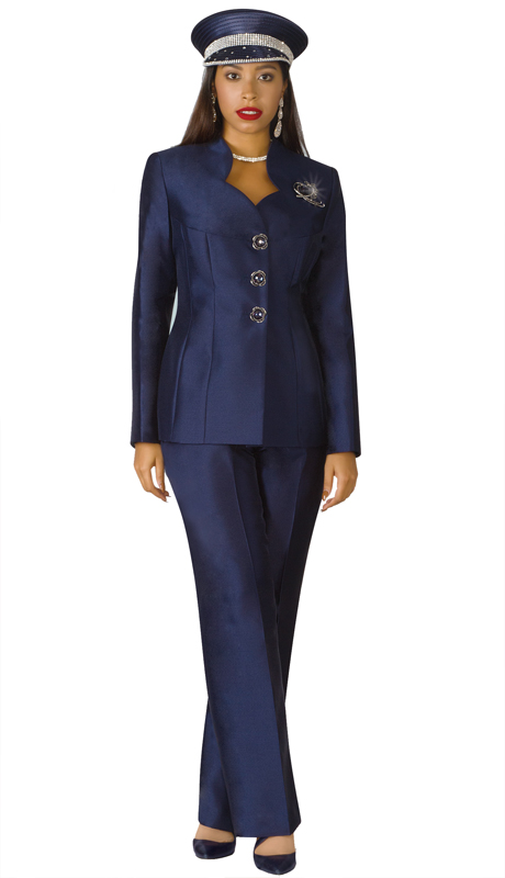 Lily And Taylor 3760-NA ( 2pc Silk First Lady Pant Suit With Brooch )