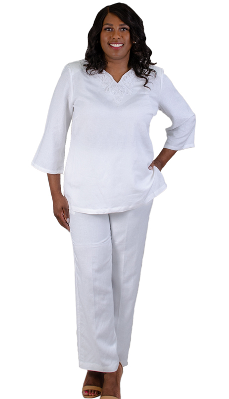 NCS-4707-IH-WH ( 2pc Linen Pant Set )