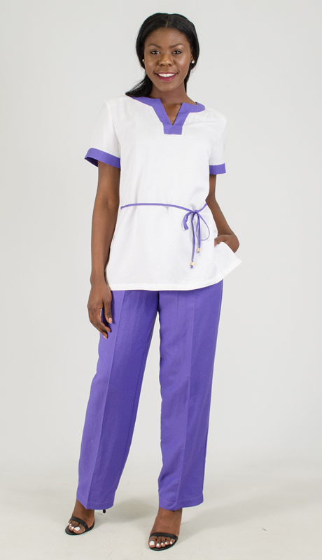 NCS-4708-IH-PU ( 2pc Linen Pant Set )