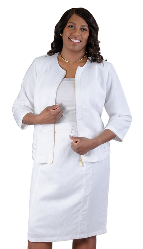NCS-4712-IH-WH ( 2pc Linen Jacket With Dress )