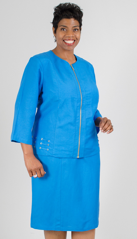 NCS-4712-IH-TU ( 2pc Linen Jacket With Dress )