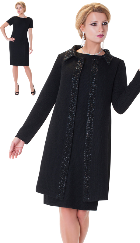 LO7224-BLK-CO  ( 2pc Liorah Knit Church Suit )