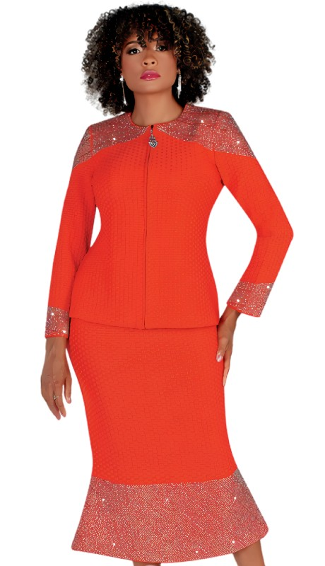 Liorah 7236 ( 2pc Exclusive Knit Skirt Suit With Rhinestone Accents )