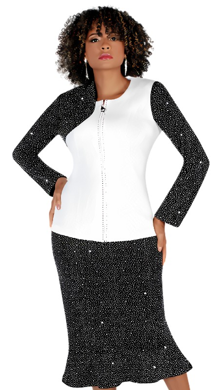 Liorah 7253 ( 2pc Exclusive Knit Sunday Suit With Rhinestone Sleeve And Skirt )