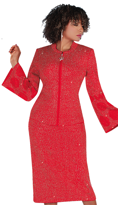 Liorah 7254-R ( 2pc Exclusive Knit Church Suit With Fully Rhinestone Design On Top And Skirt )