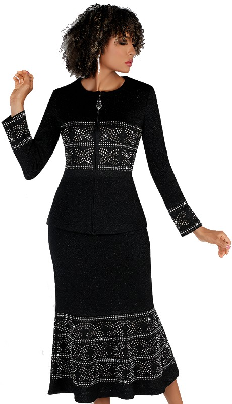 Liorah 7257-B ( 2pc Exclusive Knit Skirt Suit With Beautiful Rhinestone Design )