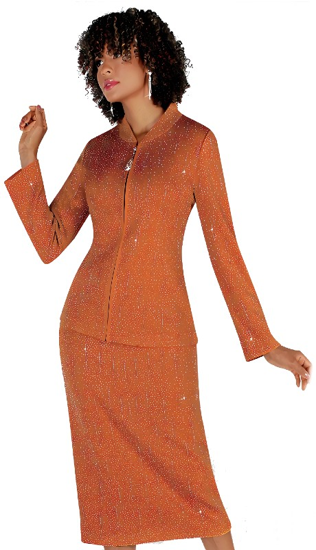 Liorah 7259 ( 2pc Exclusive Knit Skirt Suit With Rhinestone Patterning )