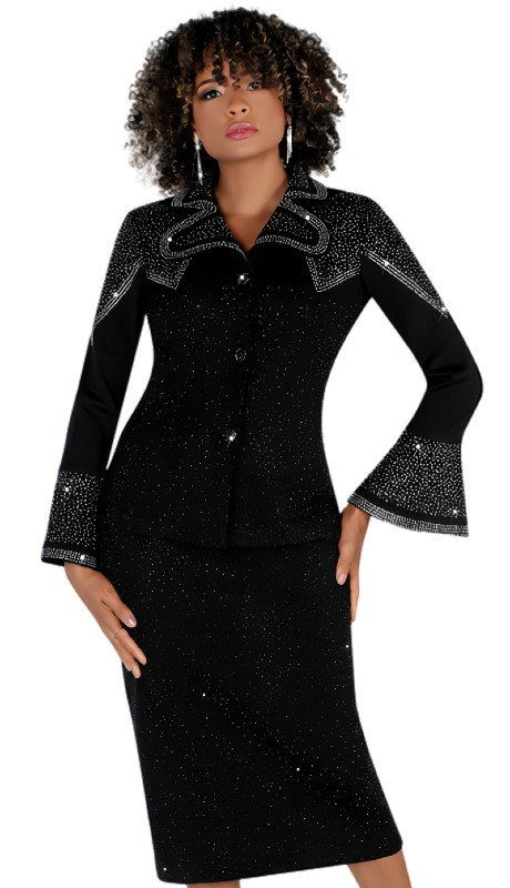 Liorah 7260 ( 2pc Exclusive Knit Skirt Suit With Shoulder Rhinestone Design )