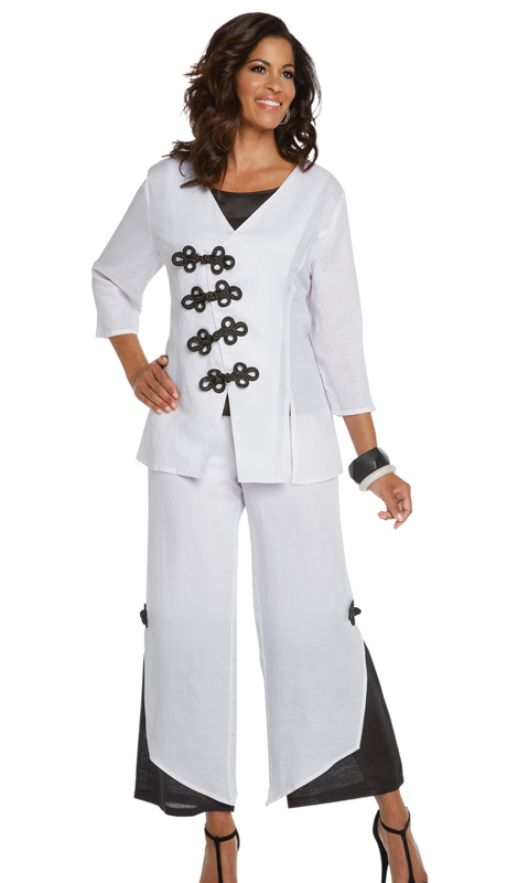 Lisa Rene 3339-WB ( 3pc LinenJacket, Cami And Pant Set With Frog Closures )
