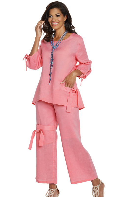 Lisa Rene 3334-PL ( 2pc Linen Tunic And Pant Set )