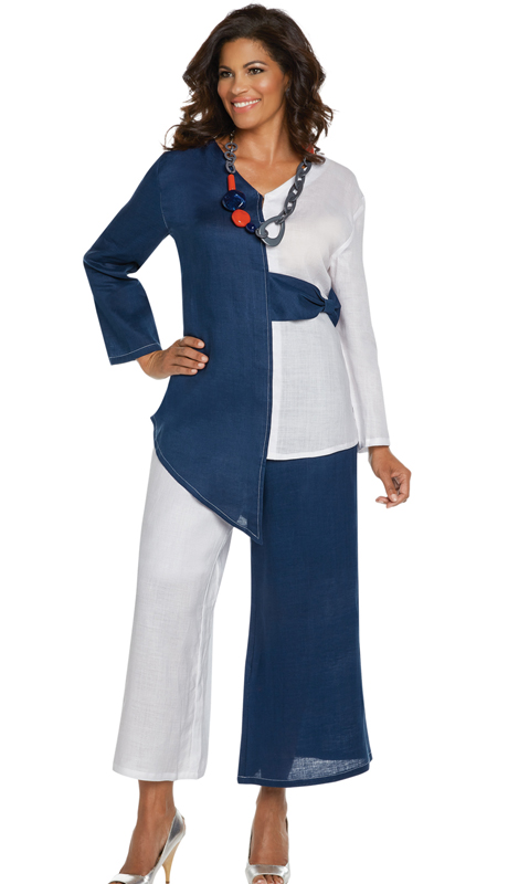 Lisa Rene 3333-WN ( 2pc Linen Tunic And Pant Set With Two Tone Design )