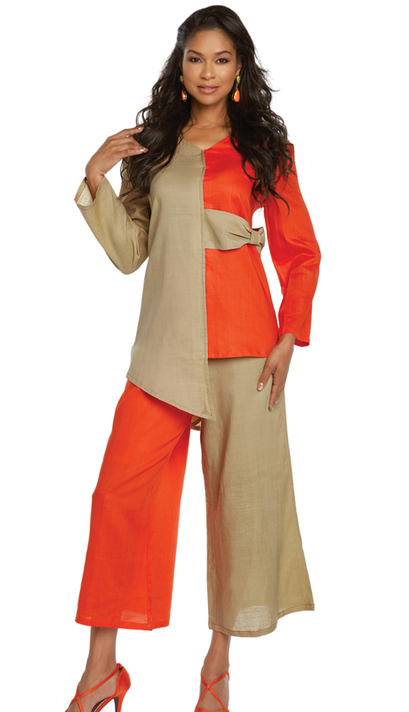 Lisa Rene 3333-OK ( 2pc Linen Tunic And Pant Set With Two Tone Design )