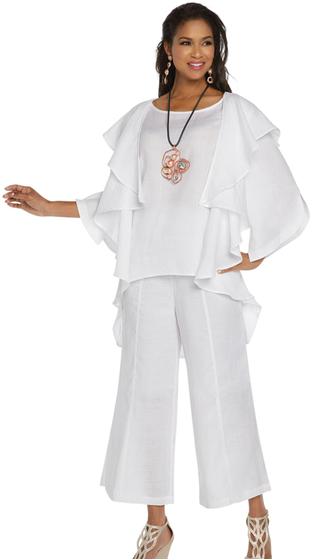 Lisa Rene 3331-WH ( 2pc Linen Tunic And Pant Set With Cascade Front )