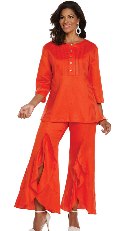 Lisa Rene 3330-OR ( 2pc Linen Tunic And Pant Set With Pin Tucking And Cascade Flounces )